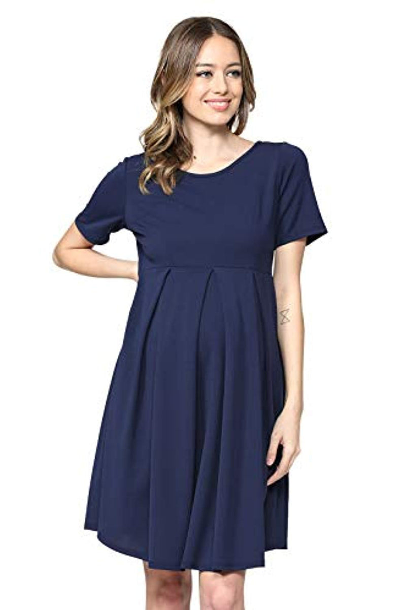 Navy Maternity Midi Dress