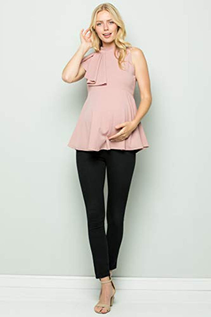 Mauve Side Ruffle Peplum Maternity Top - Mommylicious