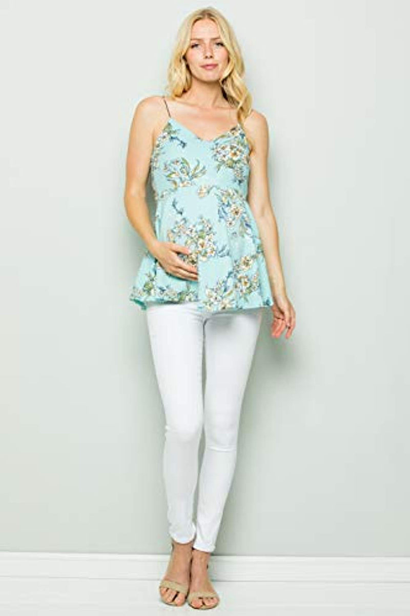 Mint Floral Peplum Maternity Top - Mommylicious