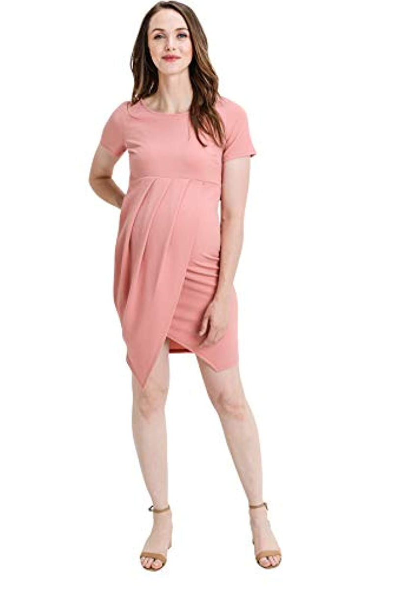 Mauve Midi Maternity Dress with Front Slit - Mommylicious