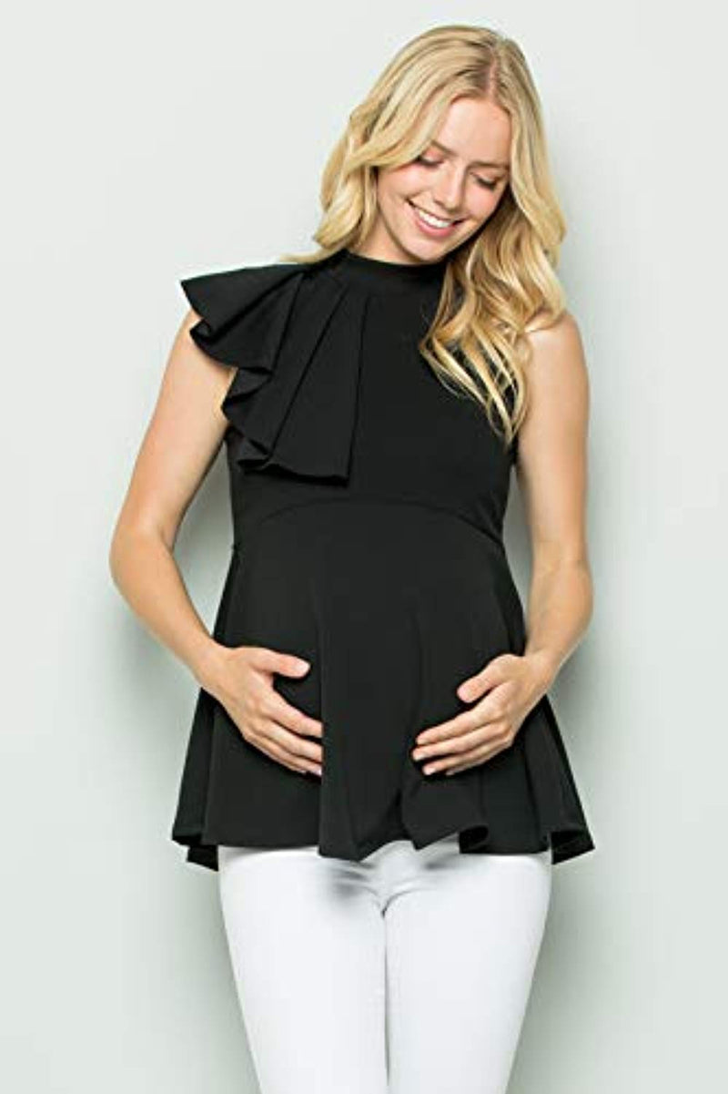 Black Side Ruffle Peplum Maternity Top - Mommylicious