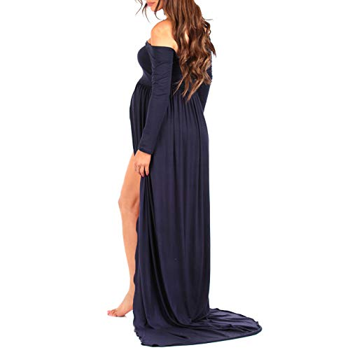 navy maternity photoshoot gown