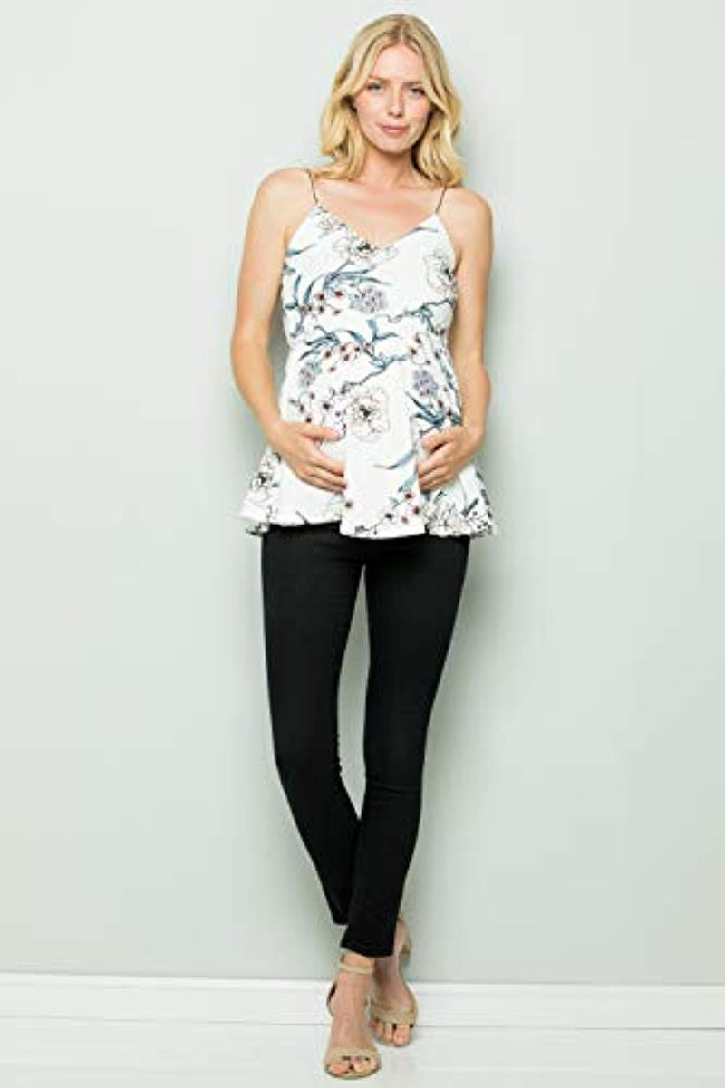 Ivory Floral Peplum Maternity Top - Mommylicious