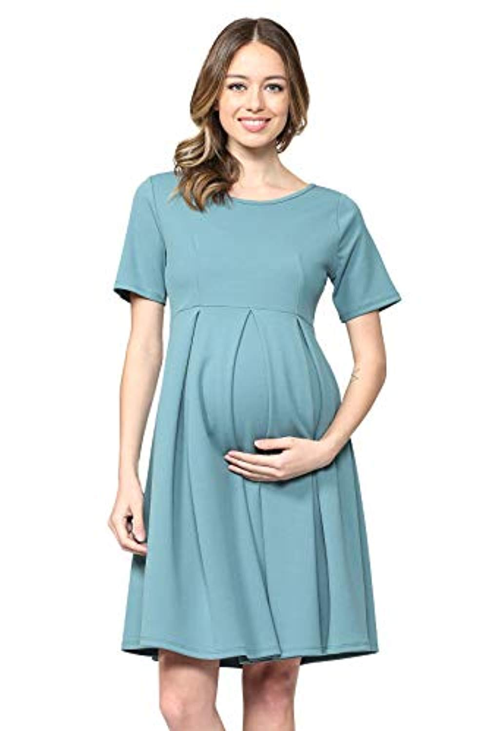 Turquoise Maternity Midi Dress