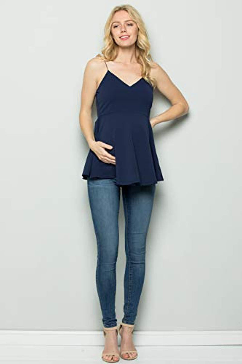 Navy Peplum Maternity Top - Mommylicious