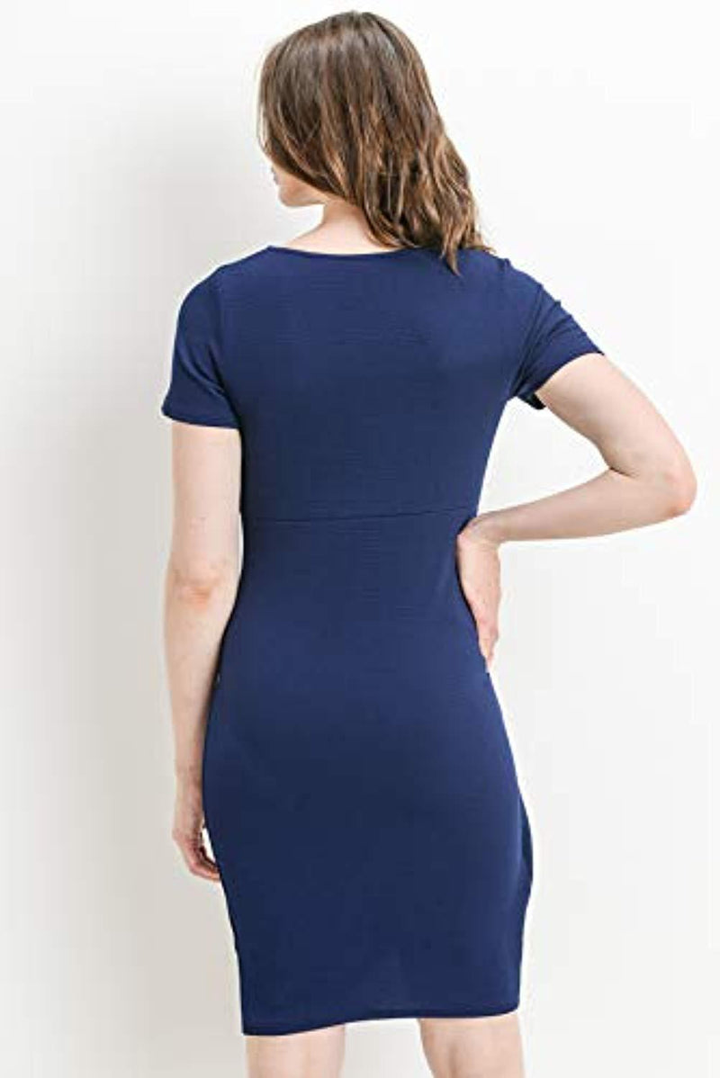 Navy Midi Maternity Dress with Front Slit - Mommylicious