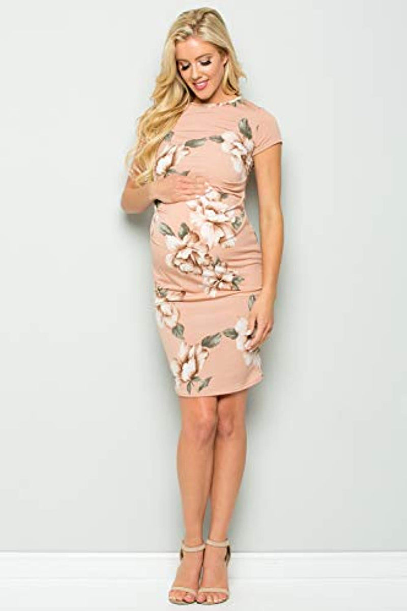 Blush Floral Maternity Bodycon Dress - Mommylicious