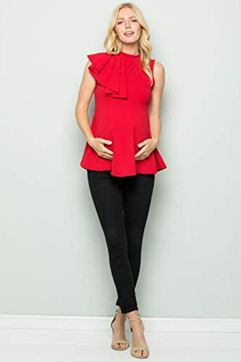 Red Side Ruffle Peplum Maternity Top - Mommylicious