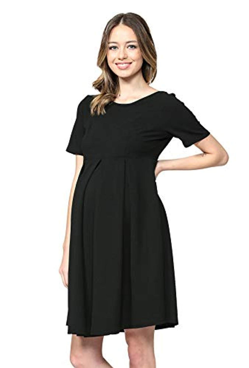 Black Pleated Maternity Midi Dress - Mommylicious