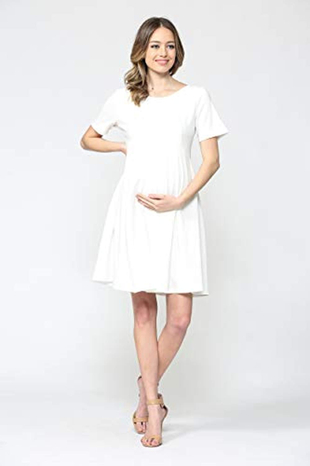 White Maternity Midi Dress