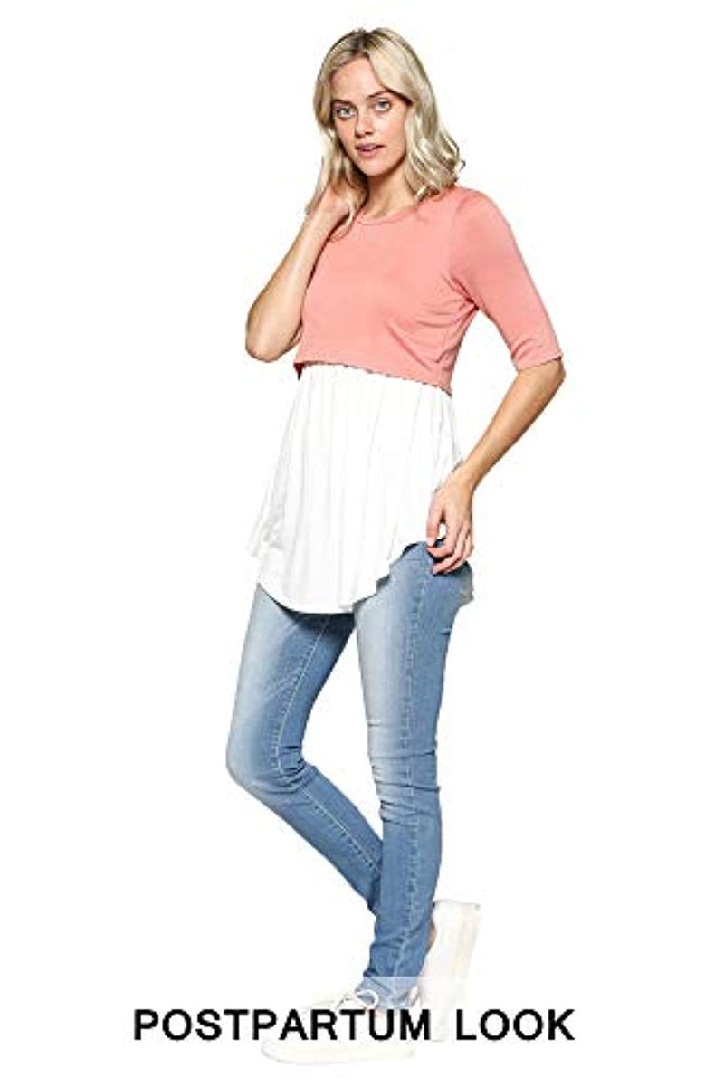 Solid Nursing Tunic Top