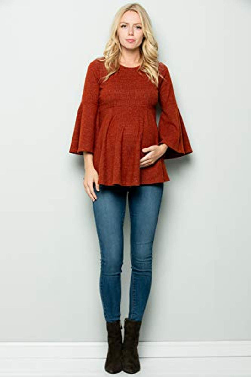 Rust Red Bell Sleeve Maternity Tunic - Mommylicious