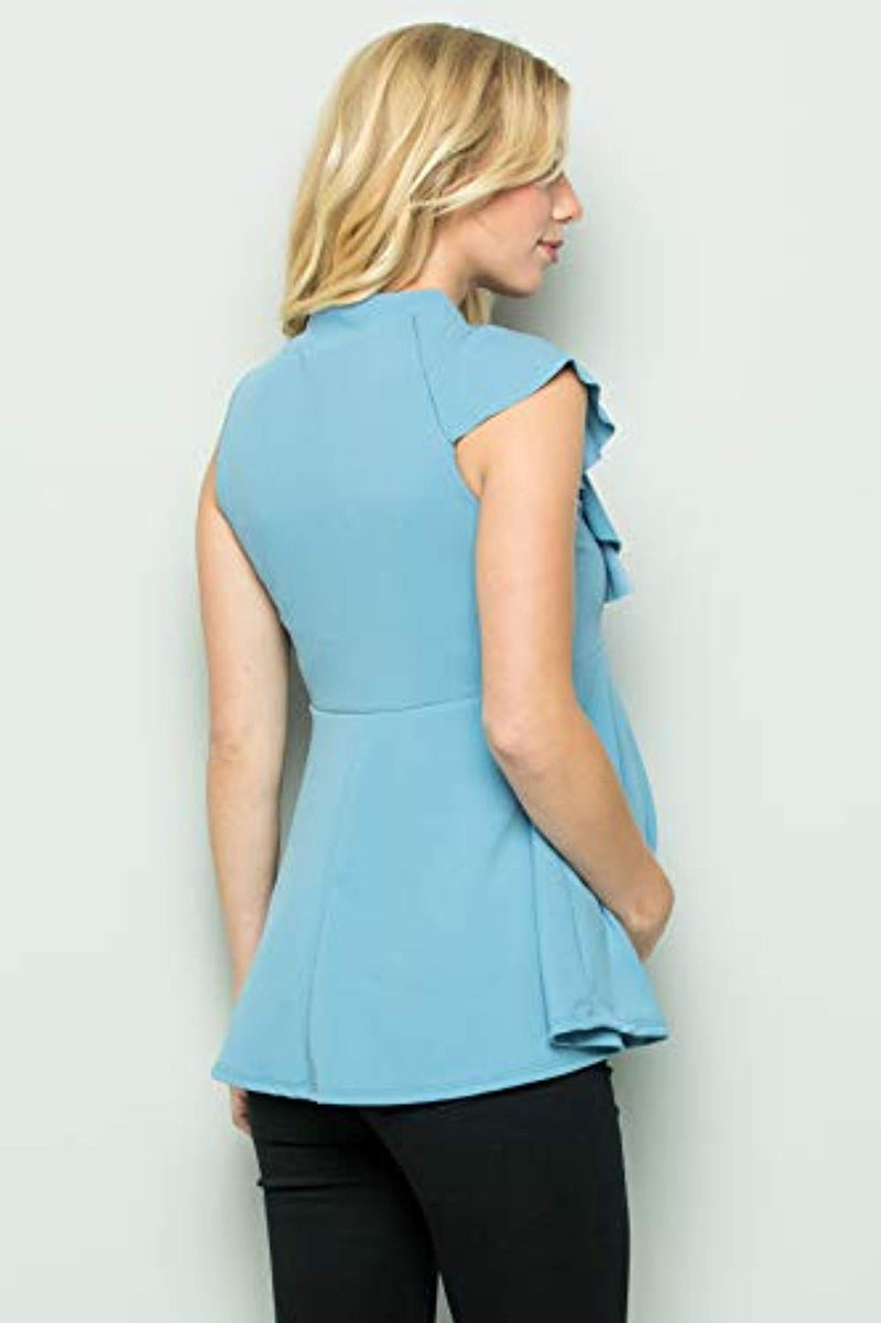 Baby Blue Side Ruffle Peplum Maternity Top - Mommylicious