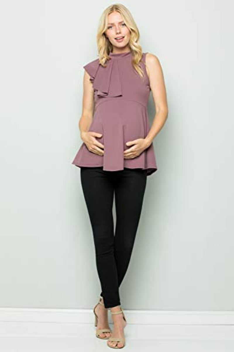 Lavender Side Ruffle Peplum Maternity Top - Mommylicious
