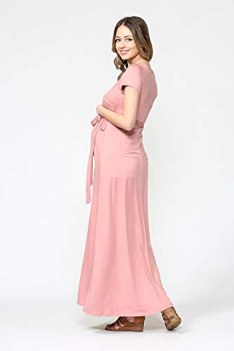 Mauve Wrap Maternity Dress - Mommylicious