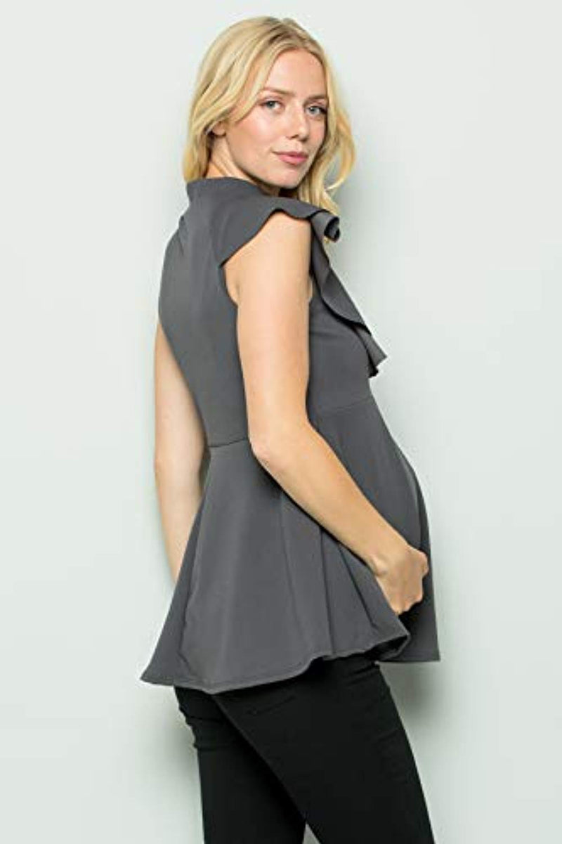 Grey Side Ruffle Peplum Maternity Top - Mommylicious