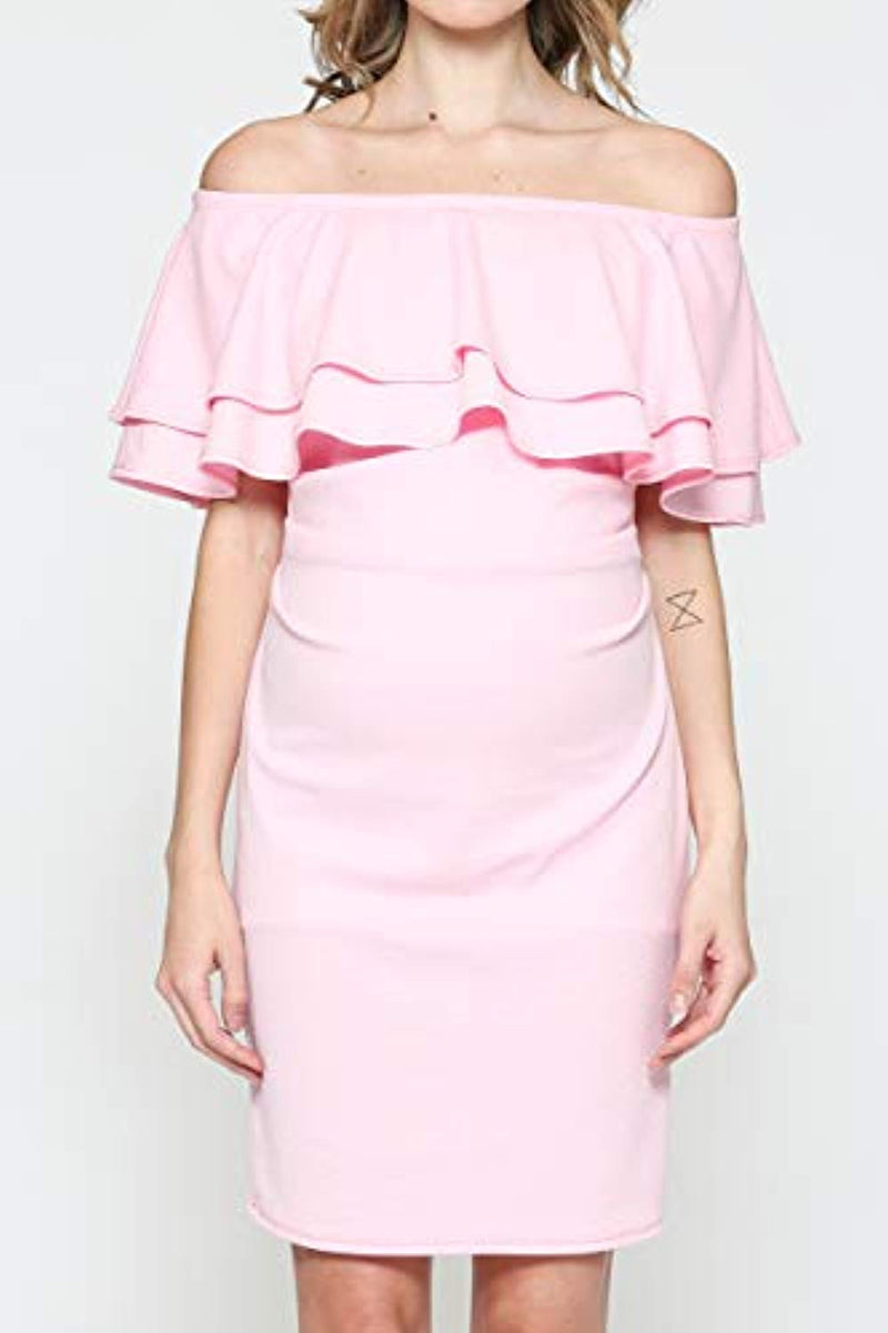 Pink Double Ruffle Maternity Dress - Mommylicious