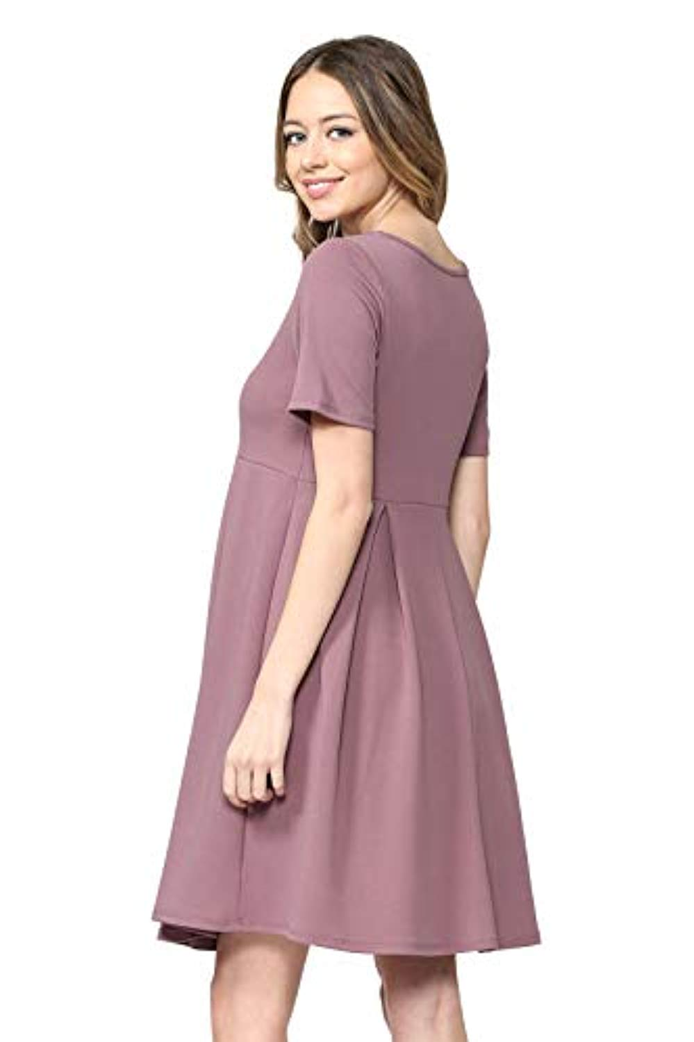 Mauve Maternity Midi Dress