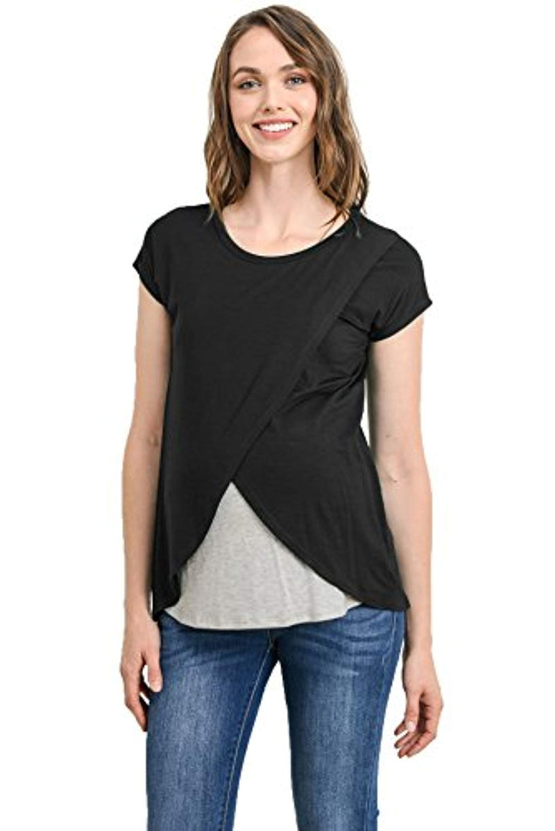 Contrast Overlay Maternity & Nursing Top - Mommylicious