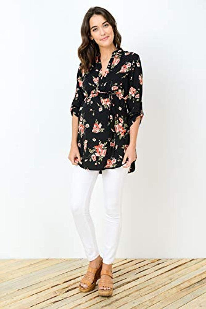 3/4 Sleeve Floral Maternity Blouse - Mommylicious