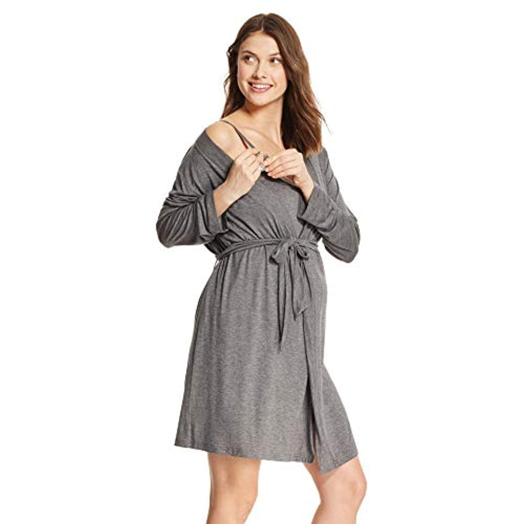 Charcoal Nursing Nightgown & Robe Set - Mommylicious
