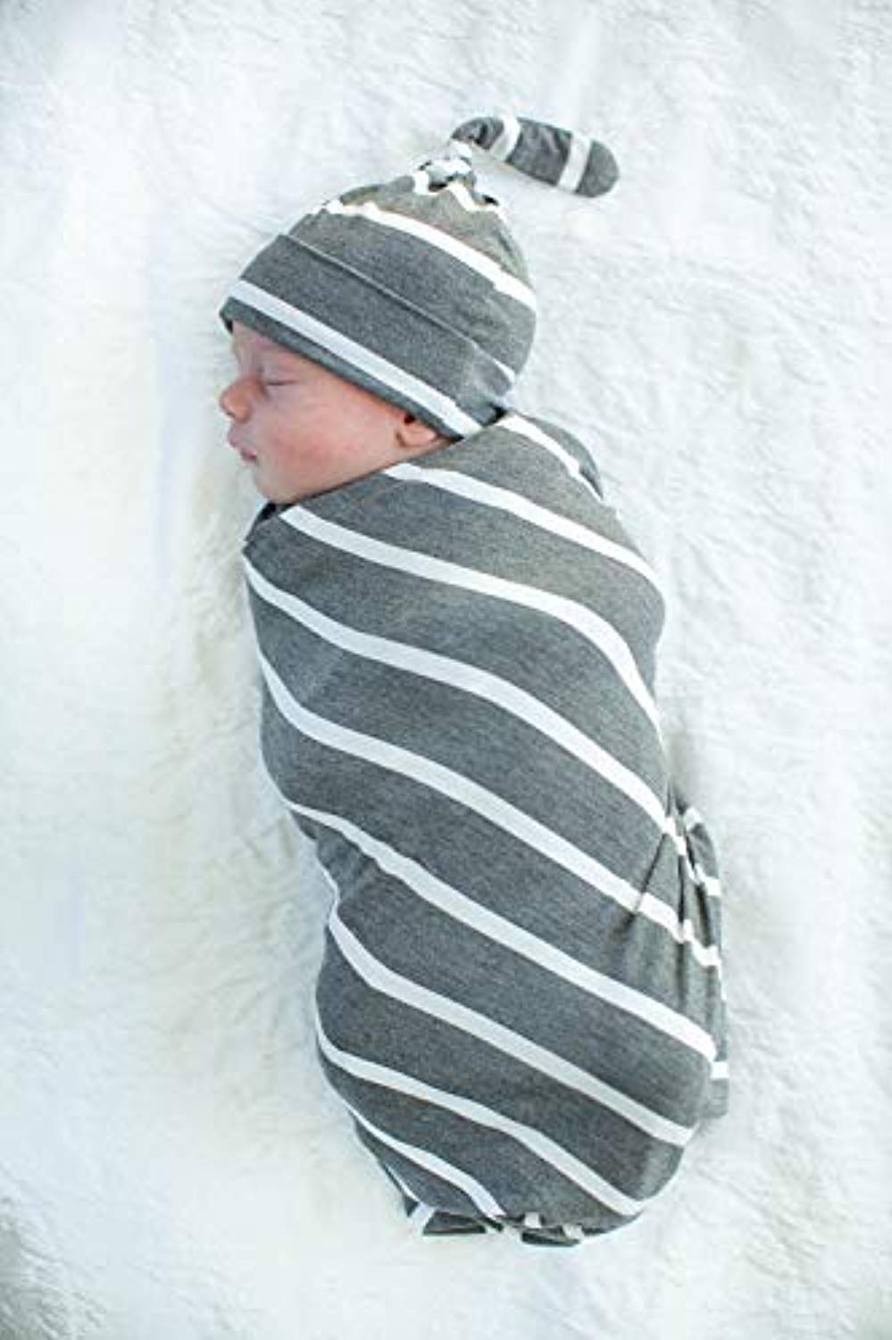 Grey Striped Delivery Robe with Swaddle Blanket and Hat Set - Mommylicious