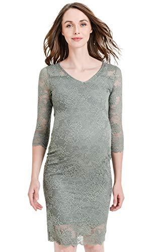 Olive Floral Lace Knee Length Bodycon Dress