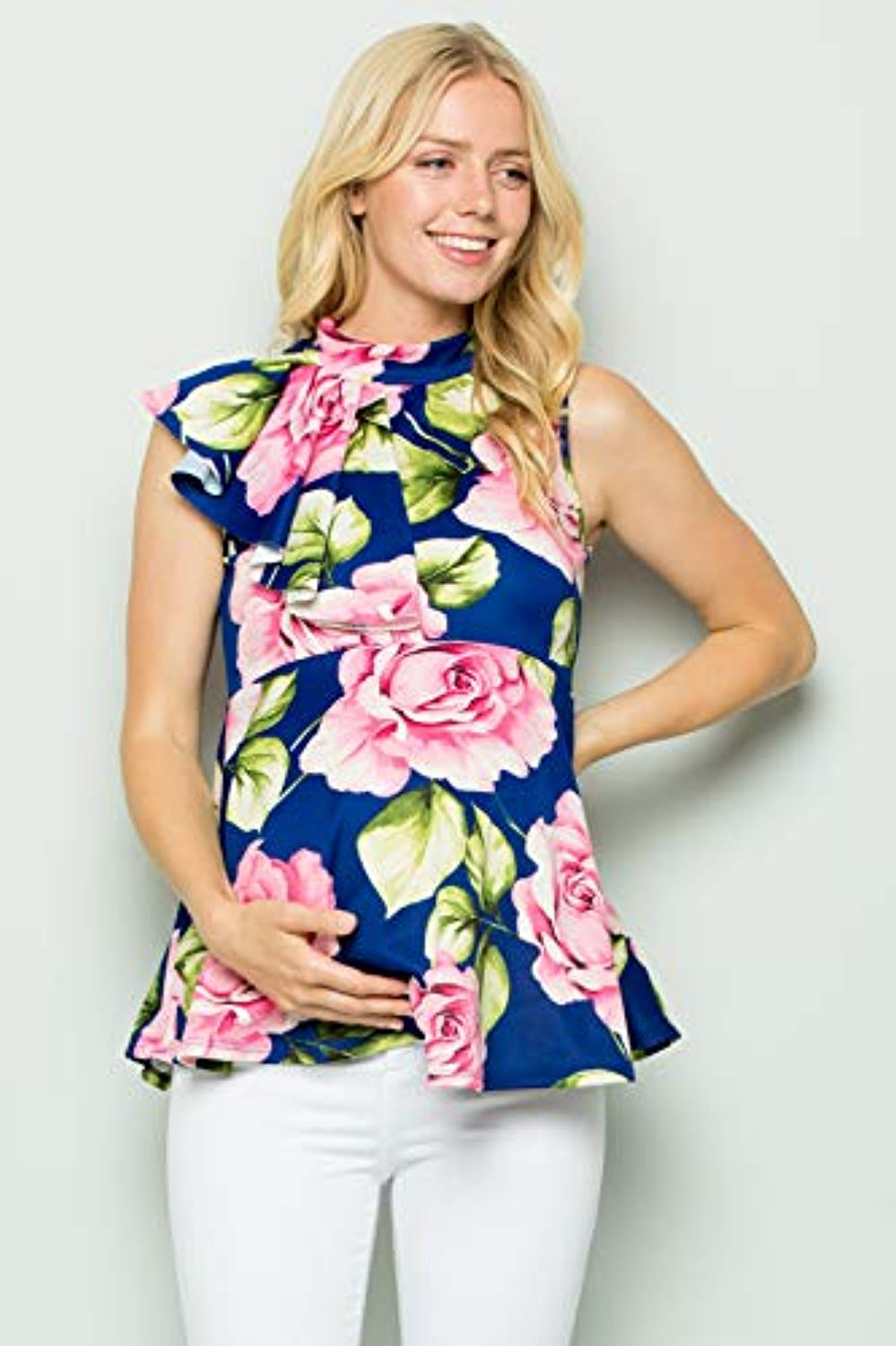 Blue Floral Side Ruffle Peplum Maternity Top