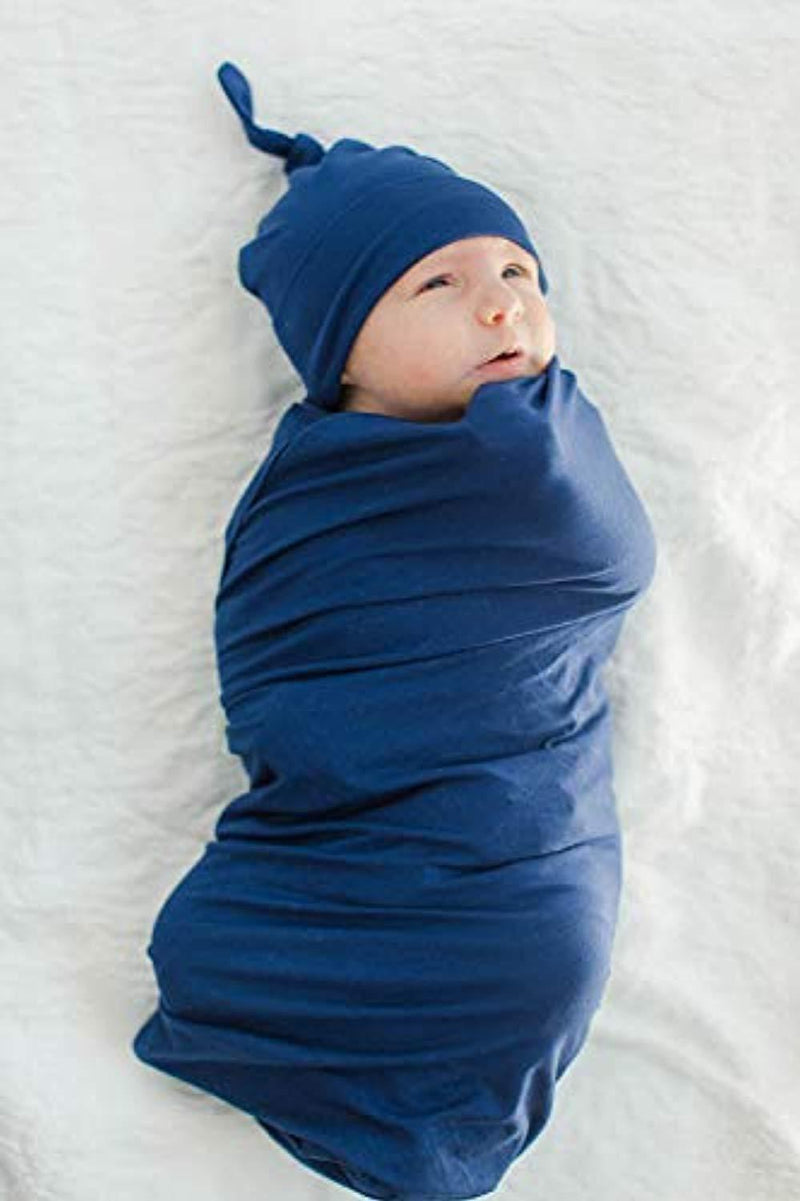 Navy Delivery Robe with Swaddle Blanket and Hat Set - Mommylicious