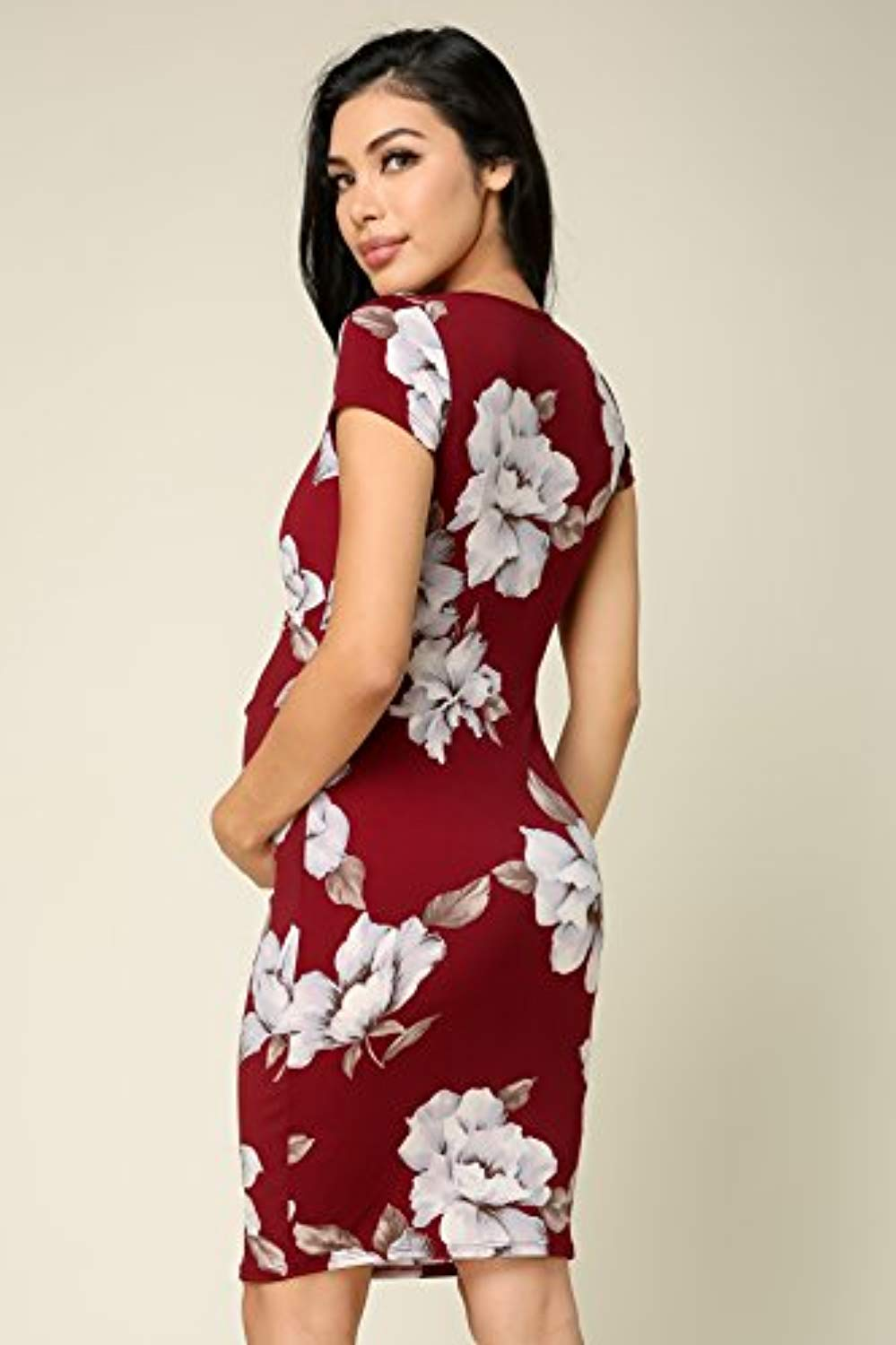 Red Floral Bodycon Maternity Dress - Mommylicious