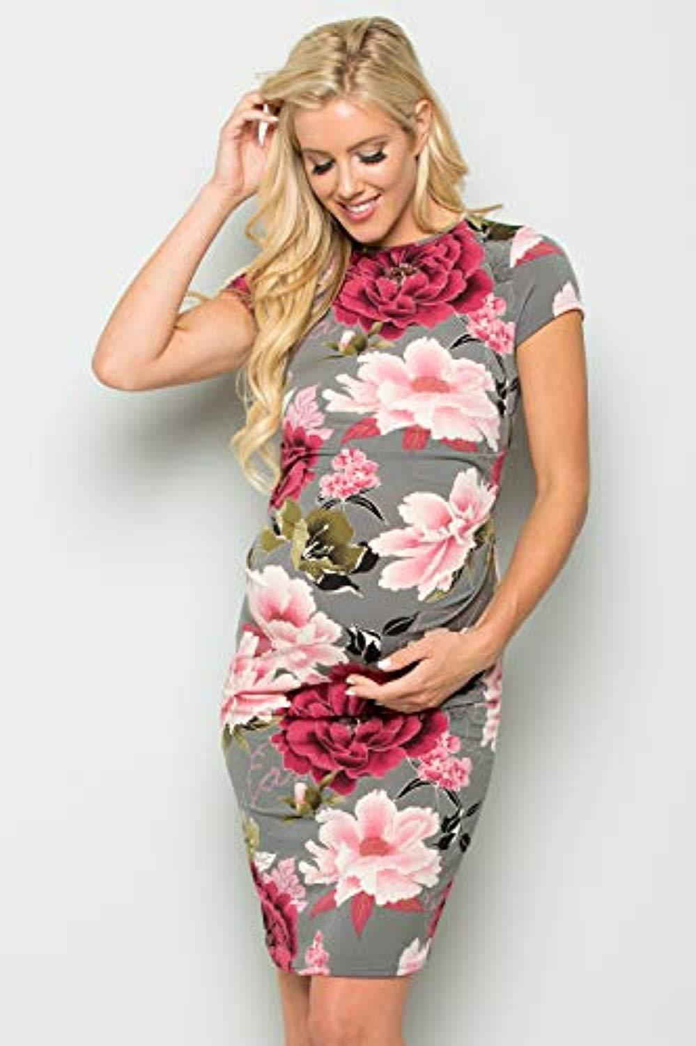 Pink and Grey Maternity Dress