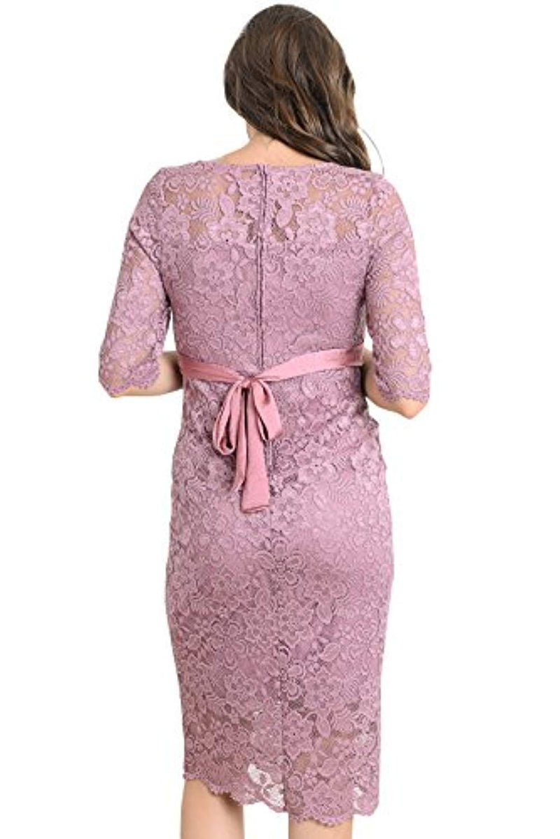 Mauve Baby Shower Lace Dress