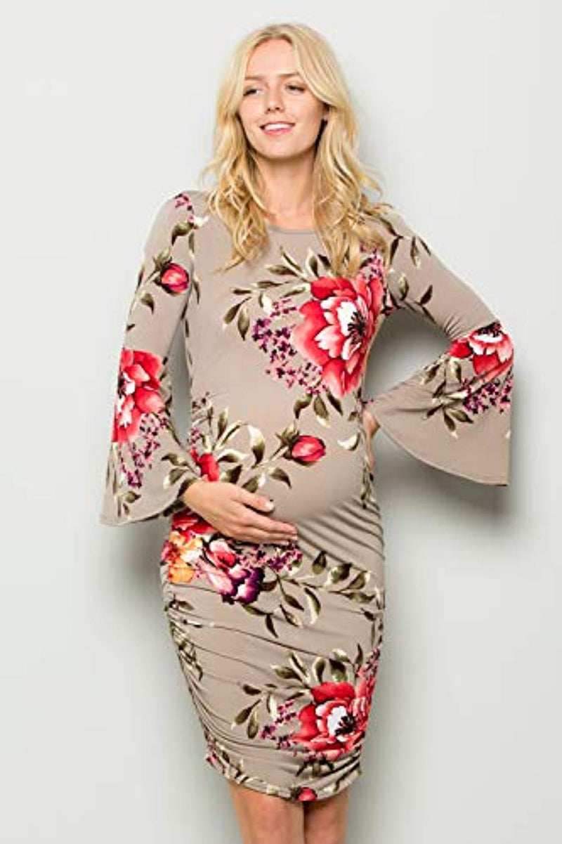 Floral Fitted Bell Sleeve Bodycon Maternity Dress - Mommylicious