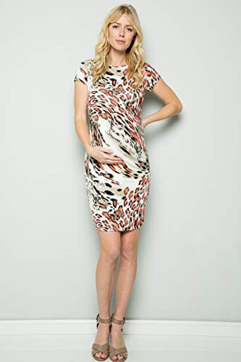 leopard maternity bodycon dress