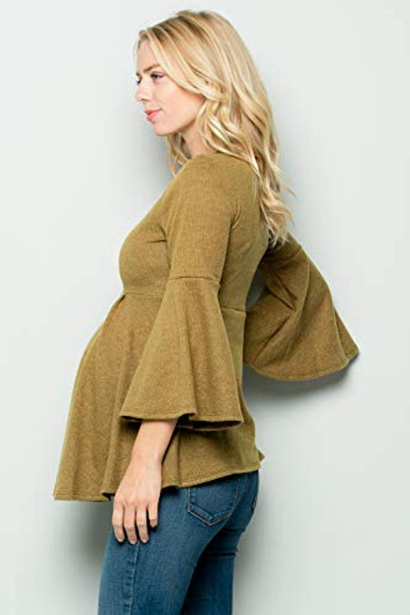 Mustard Bell Sleeve Maternity Tunic - Mommylicious