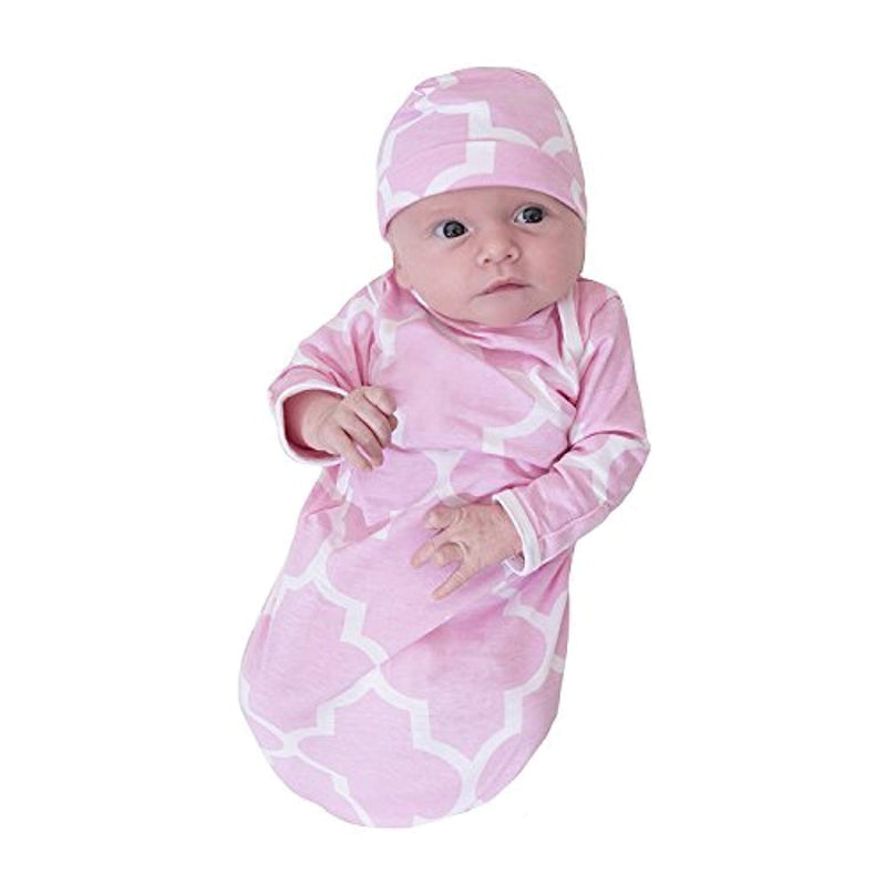 Pink Damask Delivery Robe and Baby Receiving Gown & Hat Set - Mommylicious