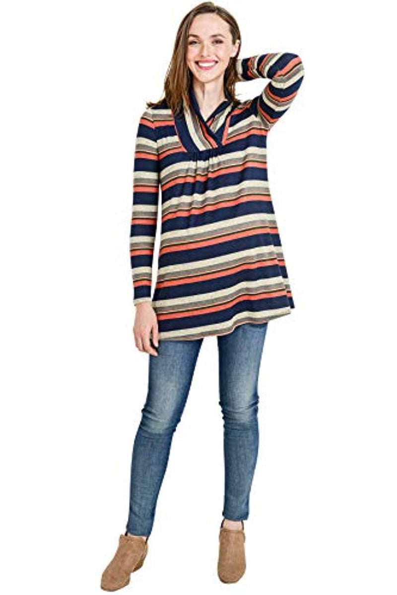 Stripes Long Sleeve Maternity Tunic Top - Mommylicious