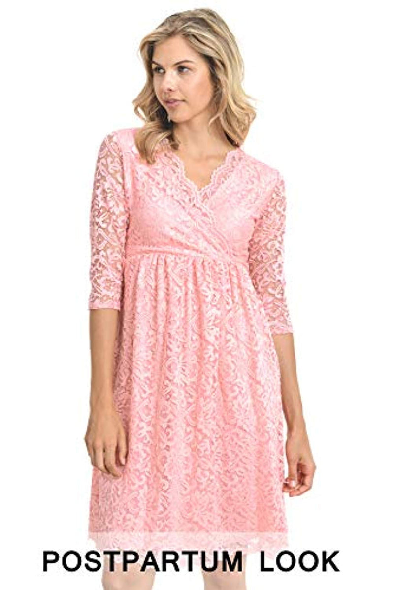 Peach Lace Maternity Dress - Mommylicious