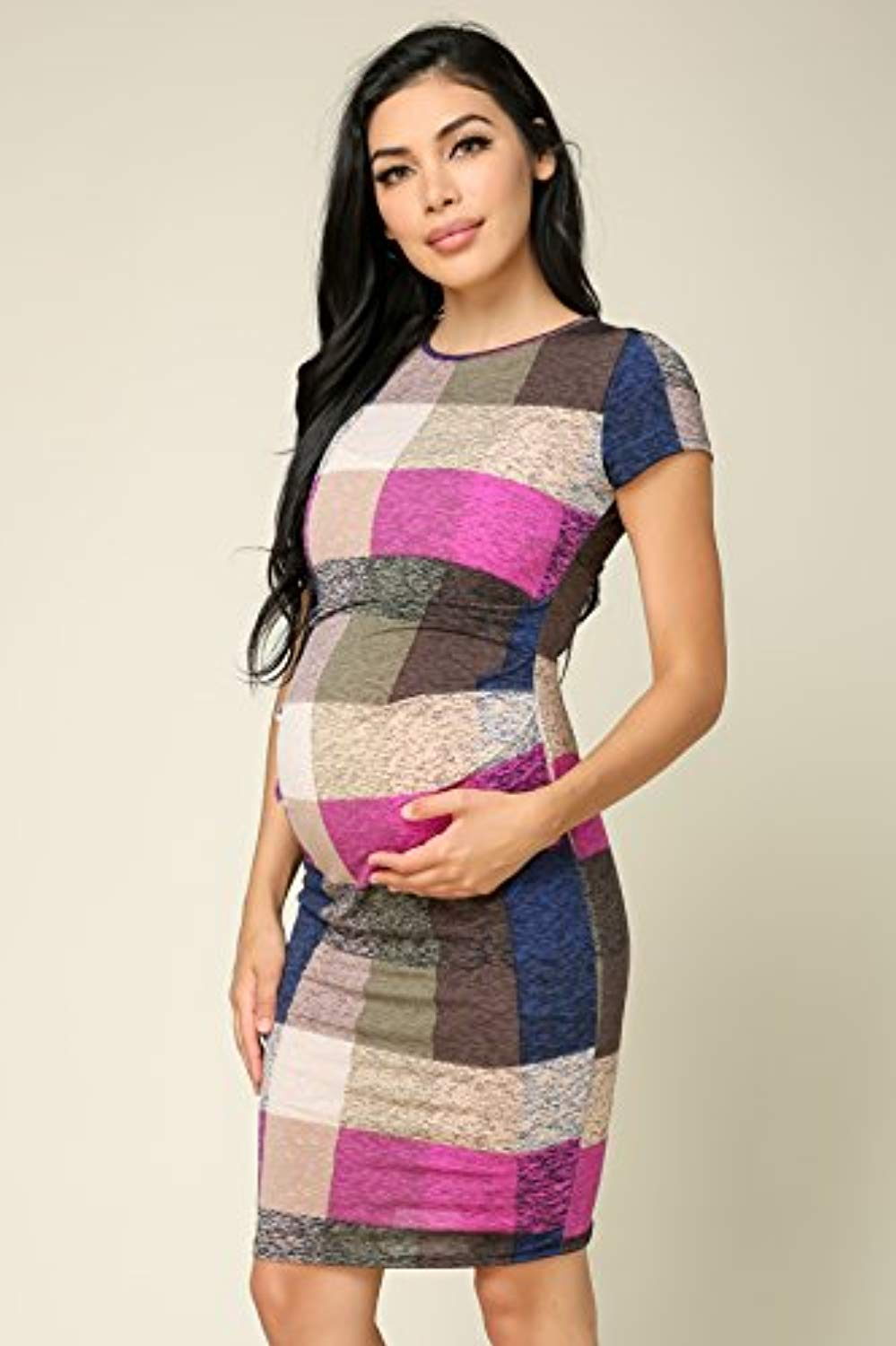 Checkered Maternity Bodycon Dress