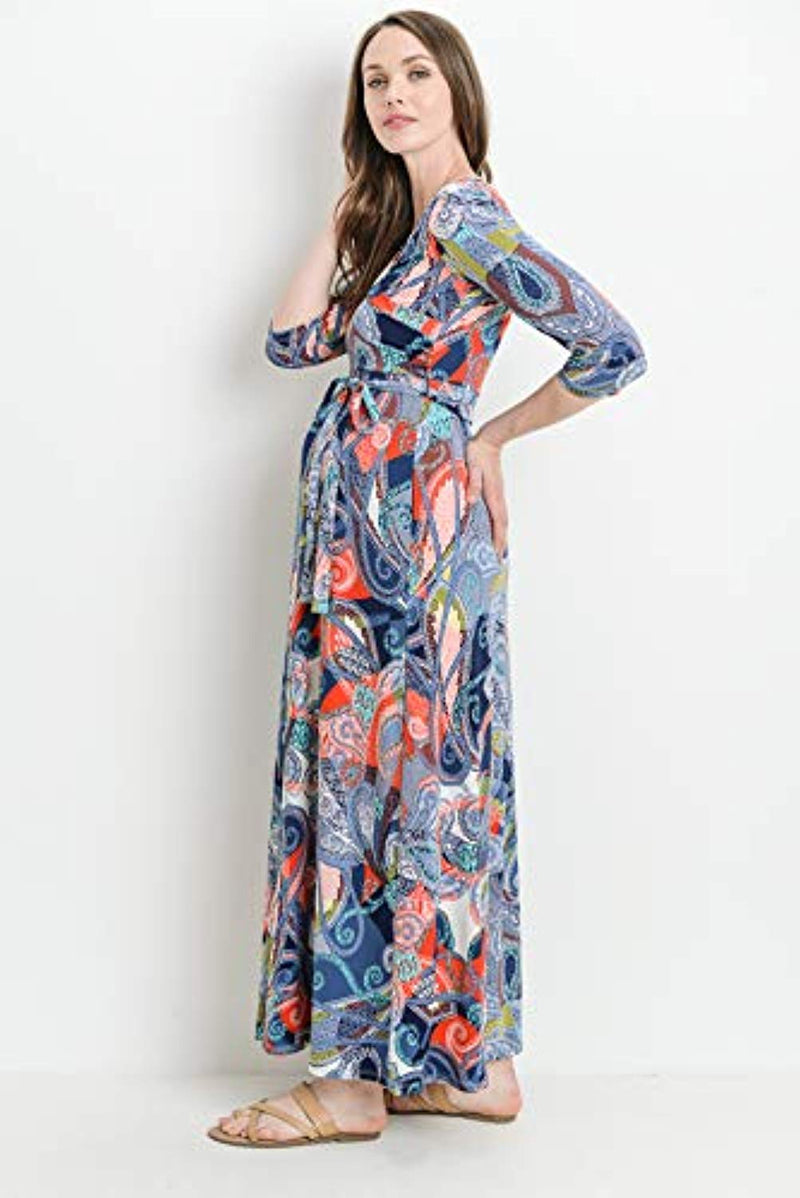 Paisley Belted Maternity Dress - Mommylicious