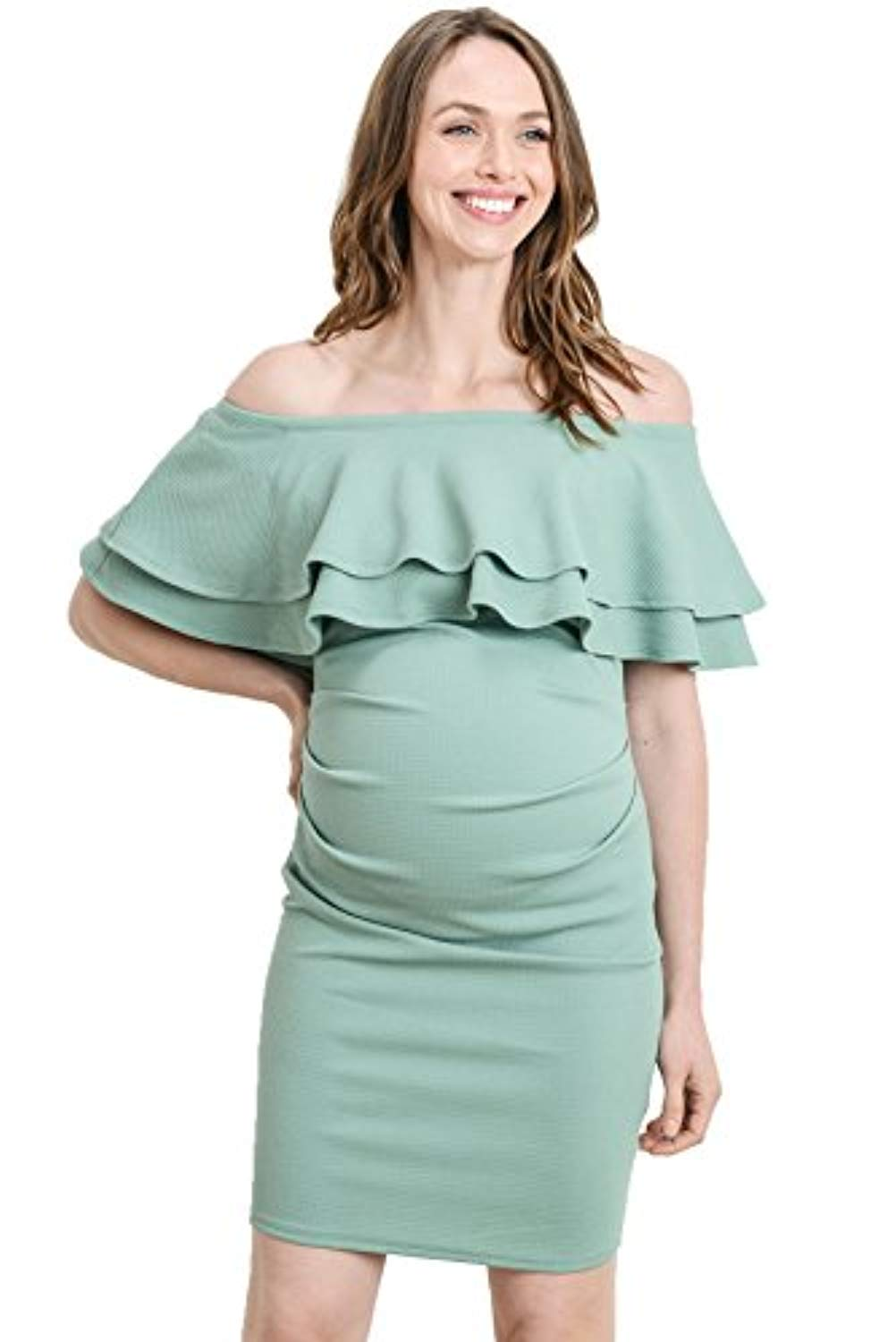 sage double ruffles maternity midi dress