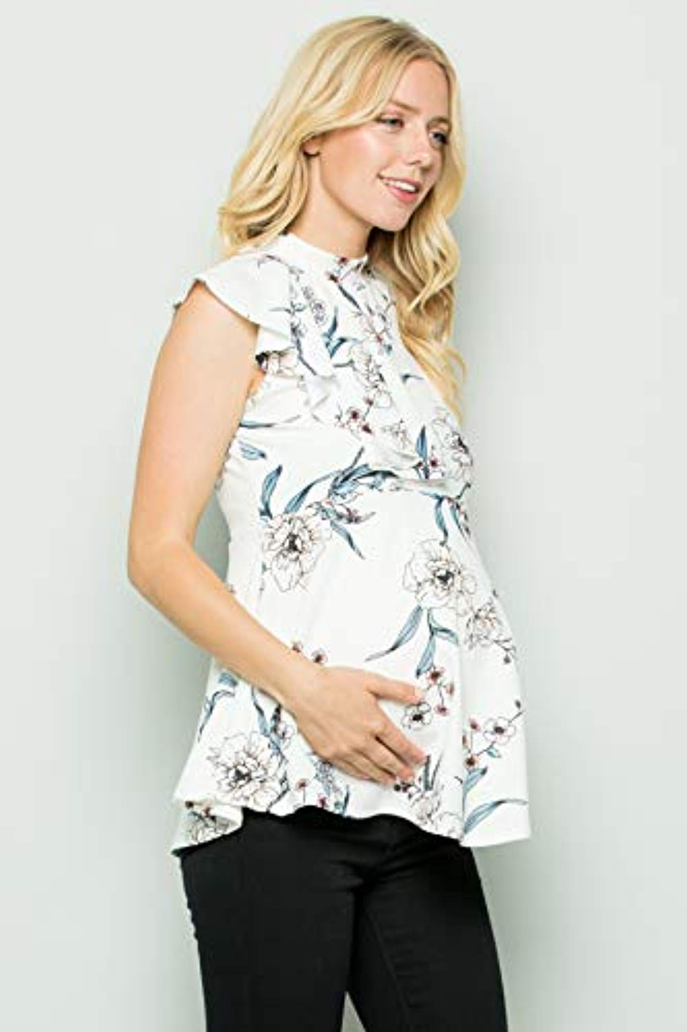 Off White Floral Side Ruffle Peplum Maternity Top