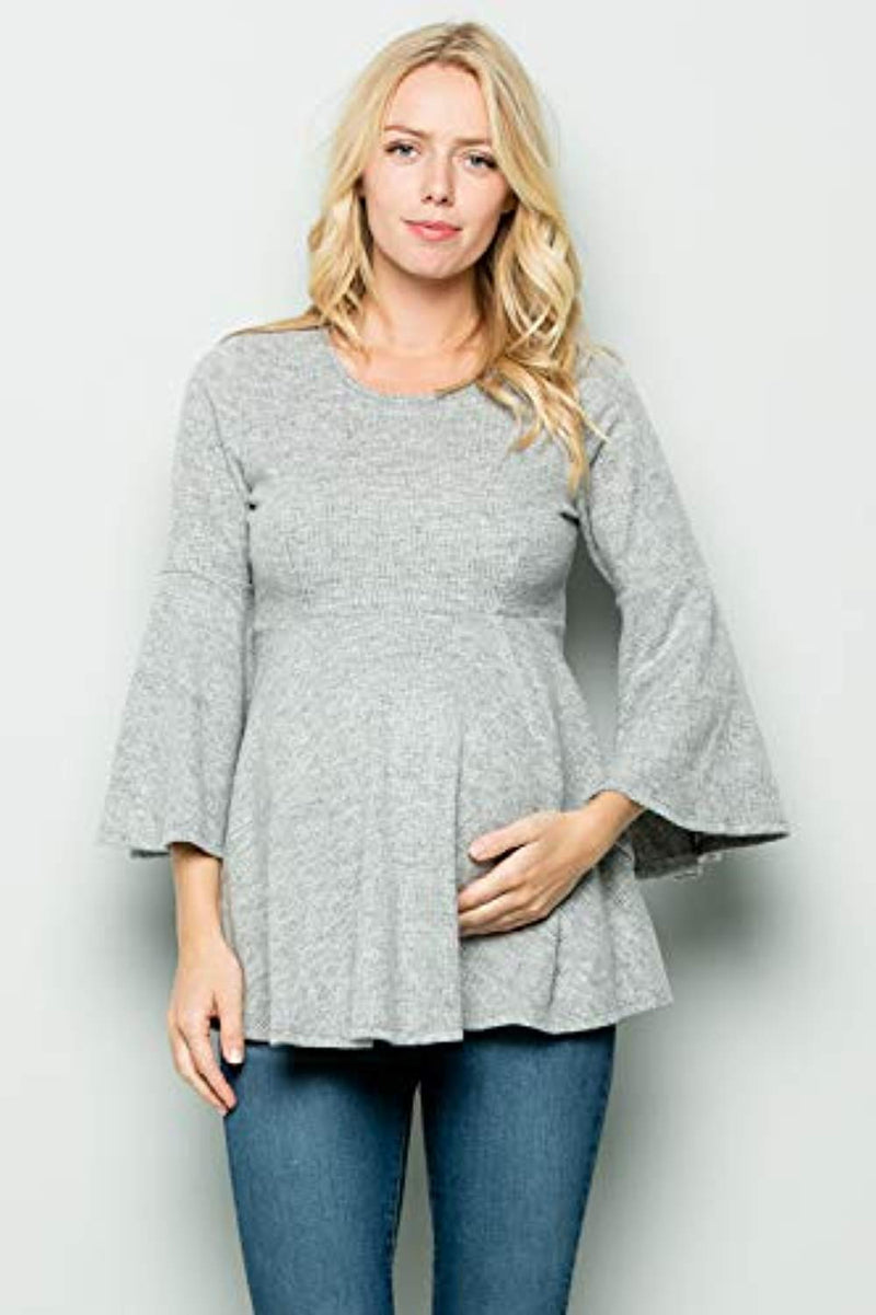 Grey Bell Sleeve Maternity Tunic - Mommylicious