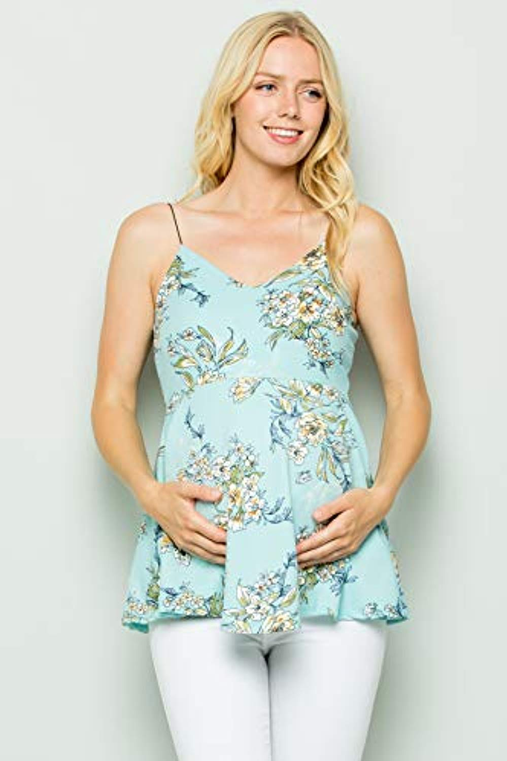 mint floral peplum maternity top