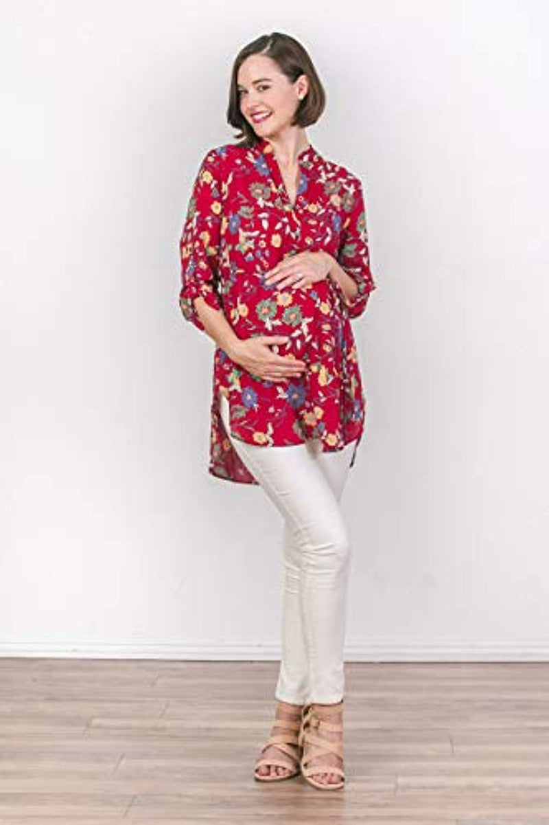 Red Floral Maternity Blouse - Mommylicious