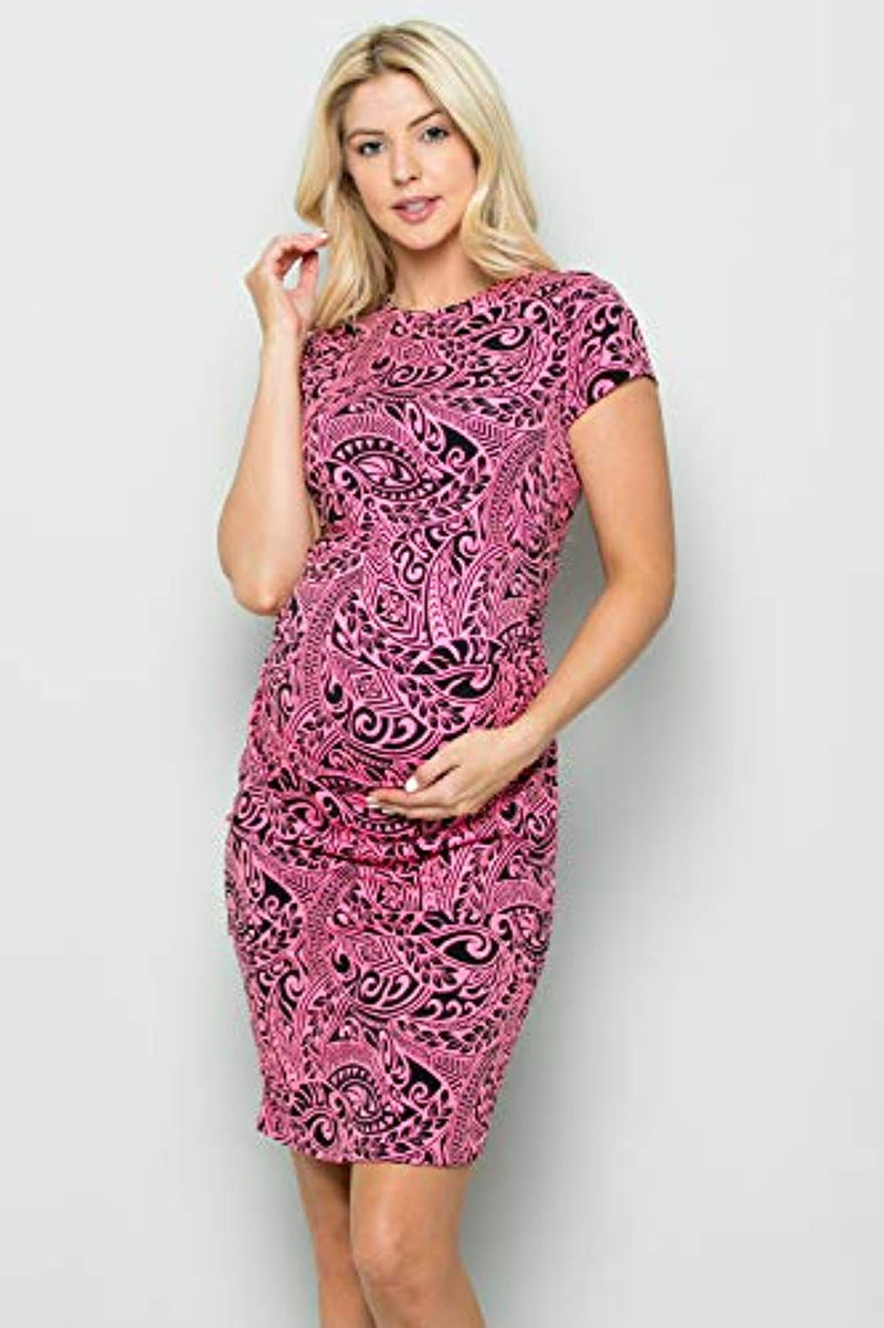 Abstract Print Maternity Bodycon Dress - Mommylicious