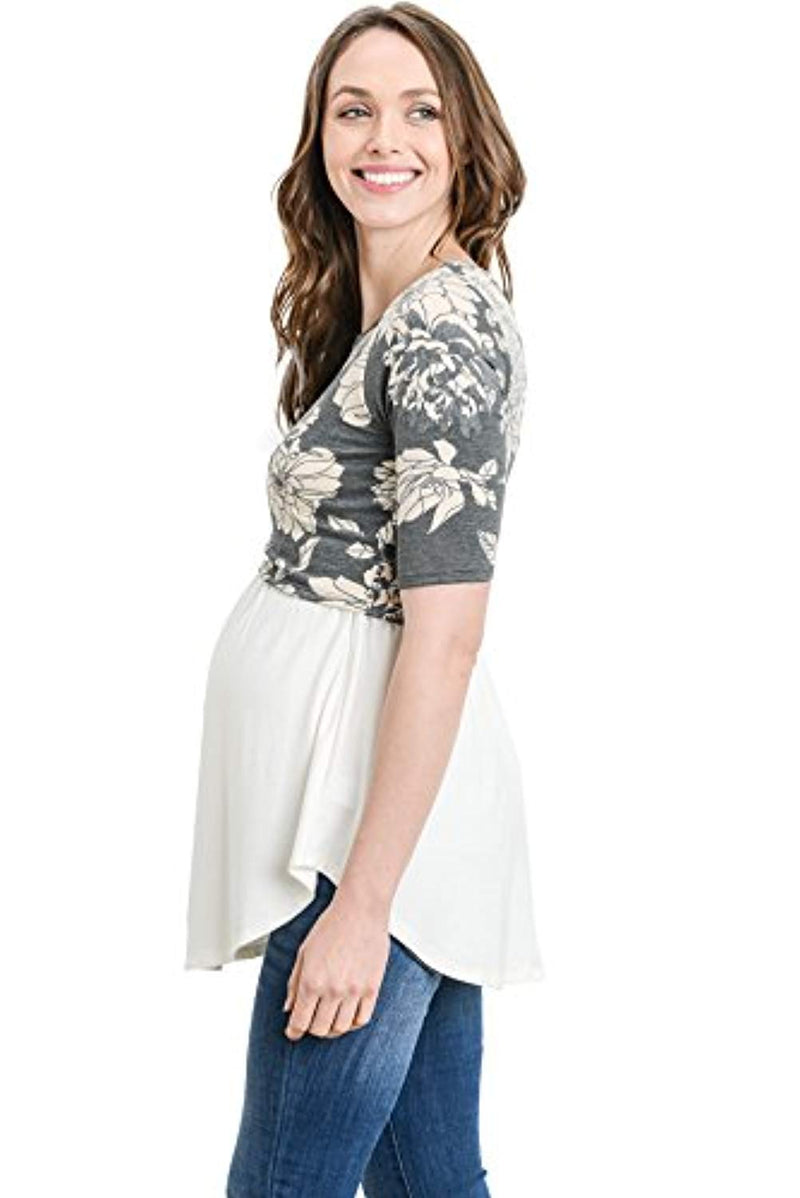 Floral Maternity Nursing Tunic Top - Mommylicious
