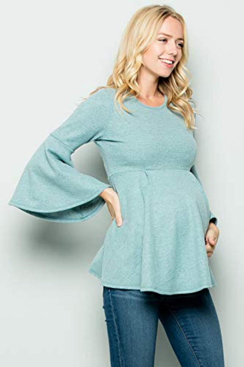 Aqua Blue Bell Sleeve Maternity Tunic - Mommylicious