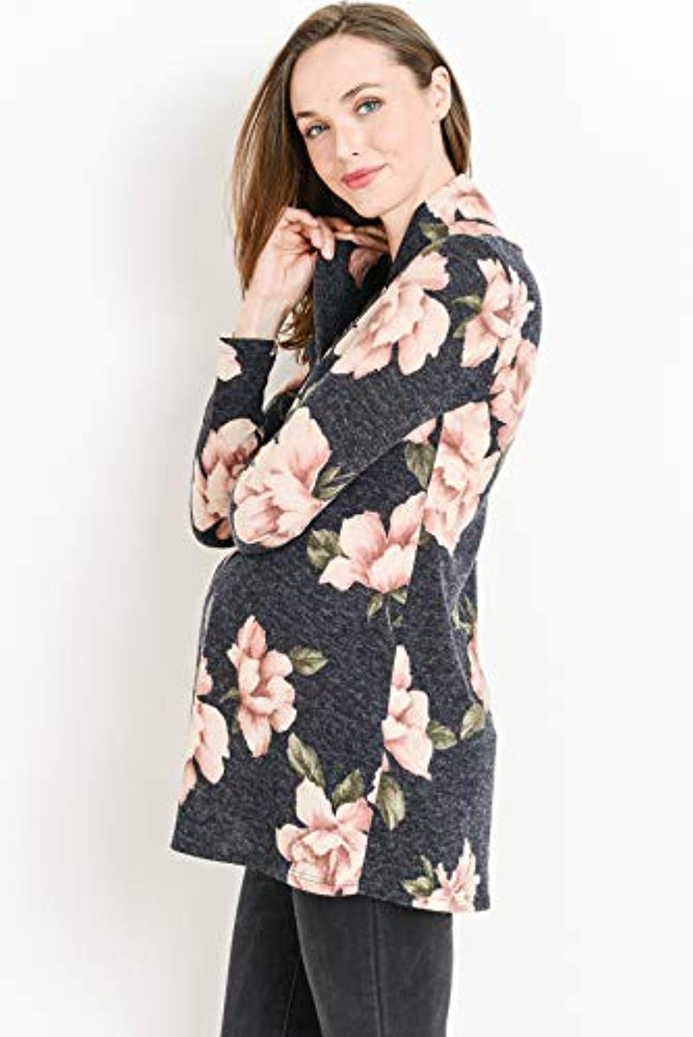 Navy Floral Long sleeve maternity tunic top
