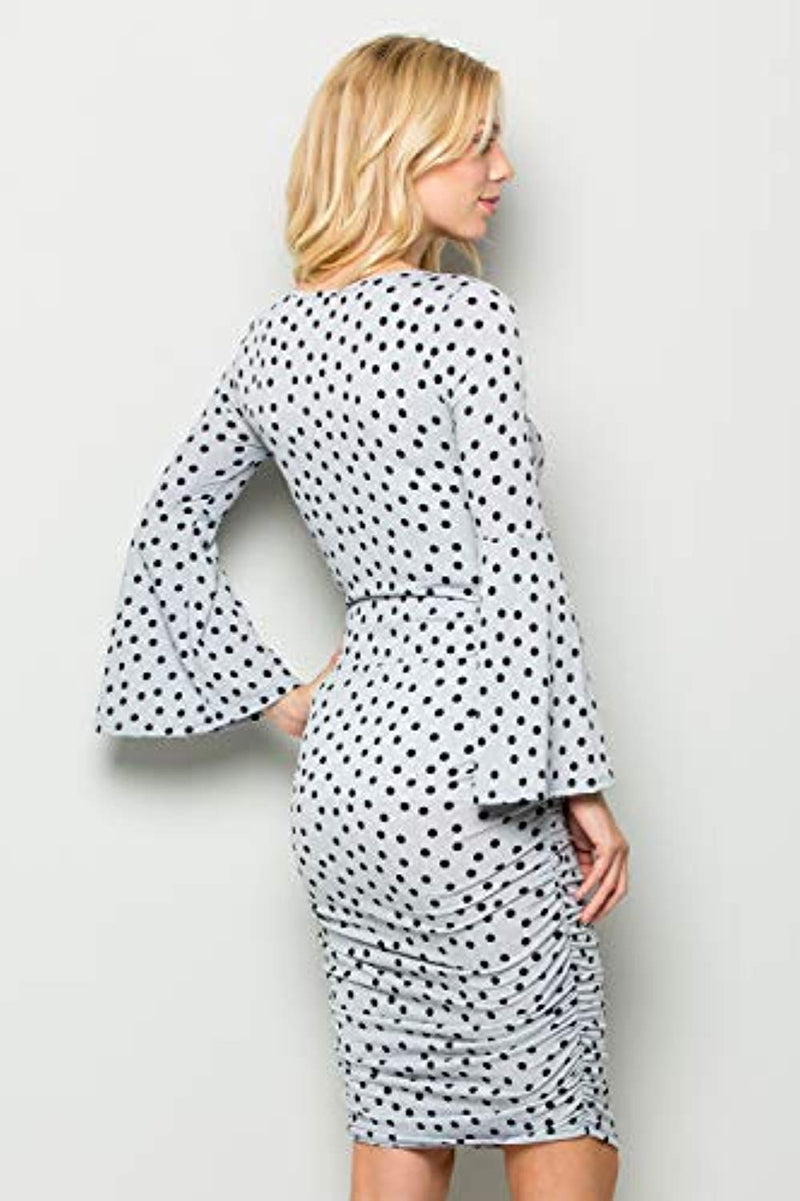 Polka Dot Fitted Bell Sleeve Maternity Bodycon Dress - Mommylicious